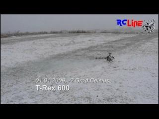 Neujahrsflug T-Rex 600 bei Schnee und Nebel....