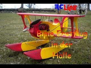 """Erstflug """"Bipie"""" in der Halle"""